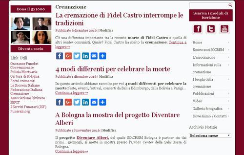 Nuova categoria Cremazione sul sito socrem bologna